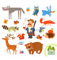 set funny forest little animals cartoon character vector image
