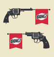 shooting toy gun pistol with bang flag icon vector image