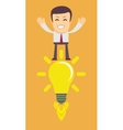 Young Man Having an Idea Light bulb vector image