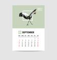 2017 September calendar flamingo polygon vector image