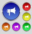 megaphone icon sign Round symbol on bright vector image