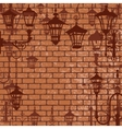 Old town background with wrought lanterns vector image