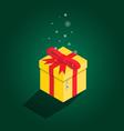 Merry Christmas yellow gift isometric vector image