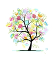 Sketch of floral tree for your design vector image vector image