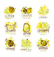 Lemonade green and yellow set for label design vector image