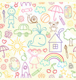 seamless pattern with child drawings vector image