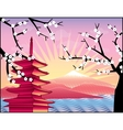 Fuji mount sakura tree and pagoda vector image