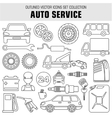 Outline set autoservice icons vector image
