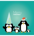 merry christmas card with penguins set vector image