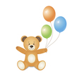 Bear with green blue and orange balloons vector image