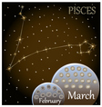 Calendar of the zodiac sign Pisces vector image