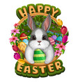 white bunny in frame with eggs vector image vector image