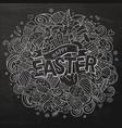 cartoon hand drawn doodle happy easter vector image