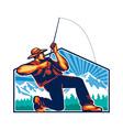 Fly Fisherman Reeling Fishing Rod Retro vector image