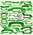 Set of green empty ribbons and banners vector image