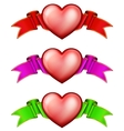 Collection hearts with ribbon vector image vector image
