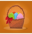 Basket with Easter eggs vector image