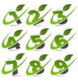 Swoosh Green Numbers Logo Set4 vector image