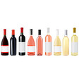 bottle of wine red white and rose vector image