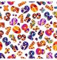 Colorful cartoon numbers seamless pattern vector image