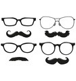 Different designs of mustache and glasses vector image
