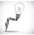 Pencil and light bulb concept of idea vector image