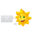 postman cartoon sun with mail vector image