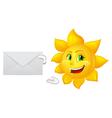 postman cartoon sun with mail vector image