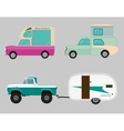 Retro car icon set Wagon trailer vector image