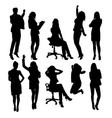 secretary woman activity silhouettes vector image