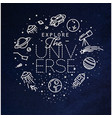 flat explore universe monogram blue vector image