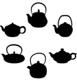 set of isolated icon silhouette teapots vector image