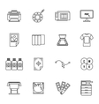 Printing icons set thin line style vector image