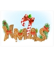 Christmas snow background with Gingerbread cookies vector image