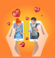 happy valentines day card hands with couple vector image