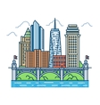 Modern city with skyscrapers and bridge vector image