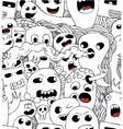 Monsters seamless pattern in black and vector image