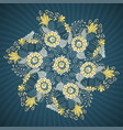 round lace pattern with flowers and leaves vector image