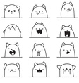Set of 12 different emotions cat Anime doodle vector image