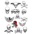 skull characters with crossbones vector image
