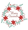 Merry Christmas floral wreath vector image