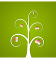 White abstract tree with hearts vector image vector image