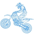silhouettes Motocross rider on a motorcycle vector image