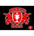 3D Athletic sports red emblem on black background vector image