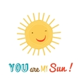 Funny happy sun character backgroound vector image