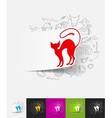 cat paper sticker with hand drawn elements vector image