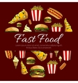 Fast food menu card circle design vector image