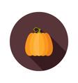 Halloween pumpkin flat circle icon vector image