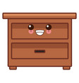 wooden drawer funiture cute kawaii cartoon vector image