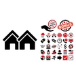 Houses Flat Icon with Bonus vector image